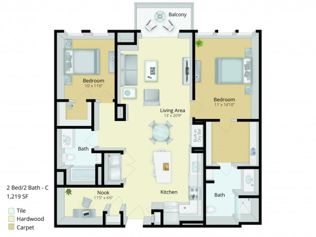 B3D Floor Plan | 2 Bedroom with 2 Bath and Den | 1219 Square Feet | Cottonwood One Upland | Apartment Homes