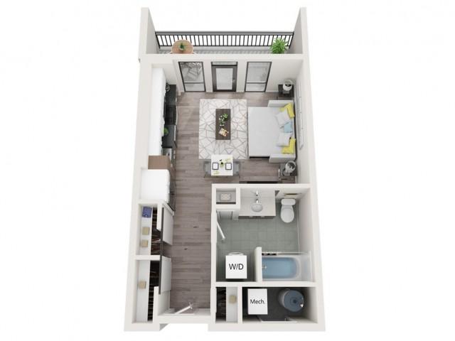 Studio S1 3D Floor Plan | Studio with 1 Bath | 504 Square Feet | Sugarmont | Apartment Homes