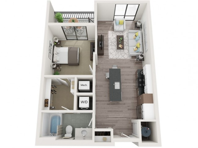 A4 3D Floor Plan | 1 Bedroom with 1 Bath | 710 Square Feet | Sugarmont | Apartment Homes