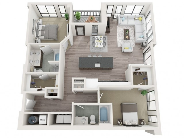 B8 3D Floor Plan | 2 Bedroom with 2 Bath | 1289 Square Feet | Sugarmont | Apartment Homes