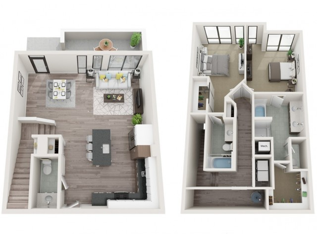 Townhouse T2 3D Floor Plan | 2 Bedroom with 2.5 Bath | 1528 Square Feet | Sugarmont | Apartment Homes