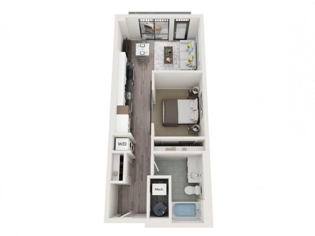 Urban UB1 3D Floor Plan | 1 Bedroom with 1 Bath | 587 Square Feet | Sugarmont | Apartment Homes