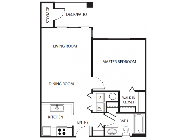 A2r Floor Plan | 1 Bedroom with 1 Bath | 656 Square Feet | Scott Mountain | Apartment Homes