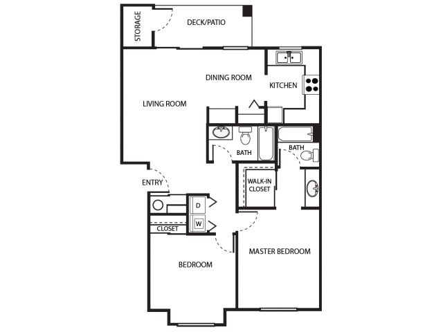 B2r Floor Plan | 2 Bedroom with 2 Bath | 930 Square Feet | Scott Mountain | Apartment Homes