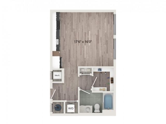 Studio S3 Floor Plan | Studio with 1 Bath | 550 Square Feet | Sugarmont | Apartment Homes