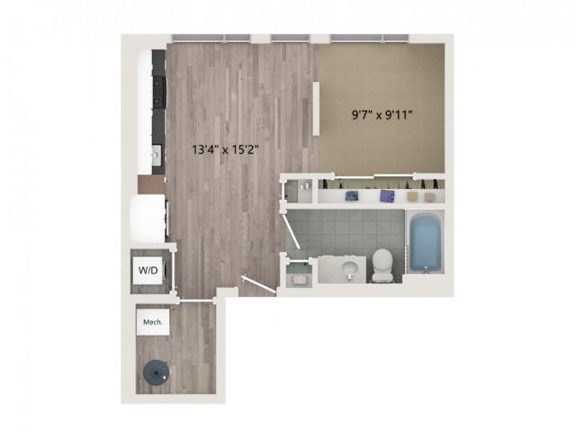 Studio S2 Floor Plan | Studio with 1 Bath | 535 Square Feet | Sugarmont | Apartment Homes