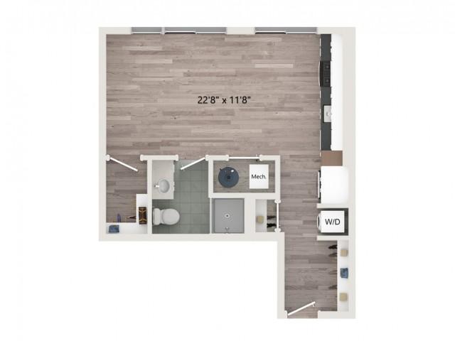 Studio S4 Floor Plan | Studio with 1 Bath | 530 Square Feet | Sugarmont | Apartment Homes