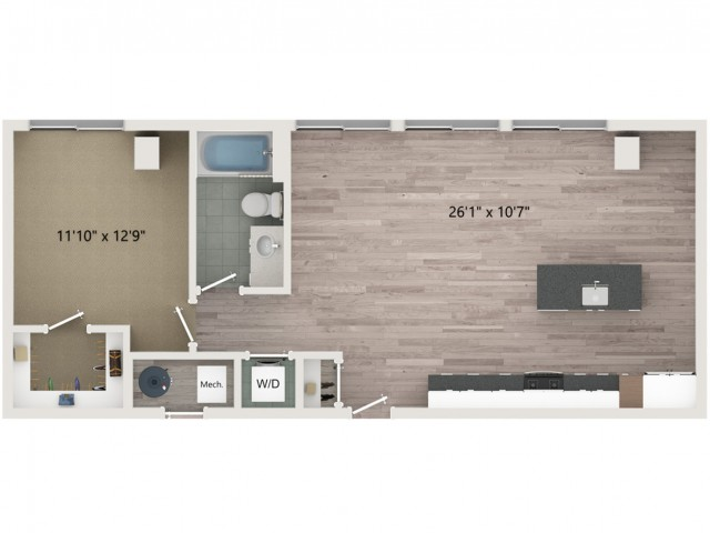 A11 Floor Plan | 1 Bedroom with 1 Bath | 814 Square Feet | Sugarmont | Apartment Homes