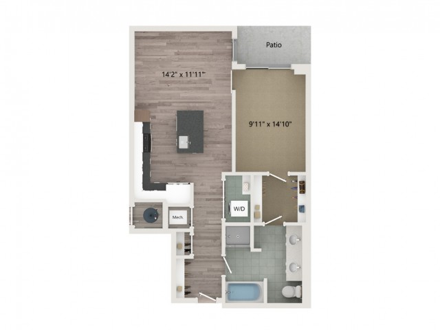 A10 Floor Plan | 1 Bedroom with 1 Bath | 791 Square Feet | Sugarmont | Apartment Homes