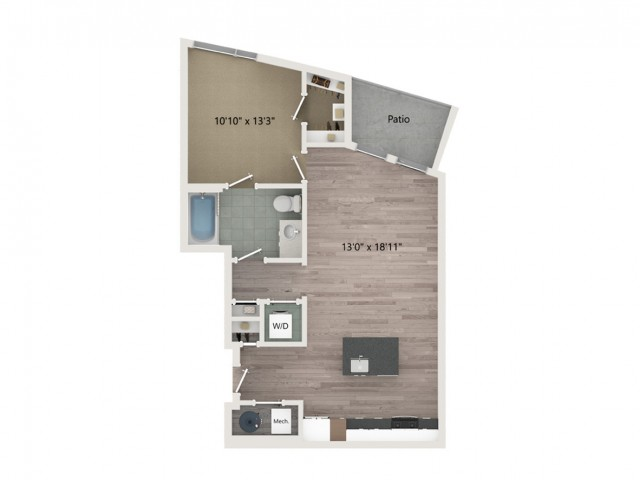 A7 Floor Plan | 1 Bedroom with 1 Bath | 711 Square Feet | Sugarmont | Apartment Homes
