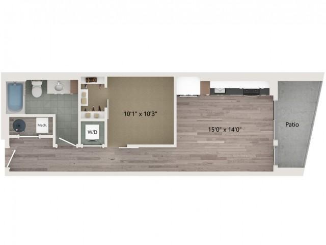 Urban UB2 Floor Plan | 1 Bedroom with 1 Bath | 619 Square Feet | Sugarmont | Apartment Homes