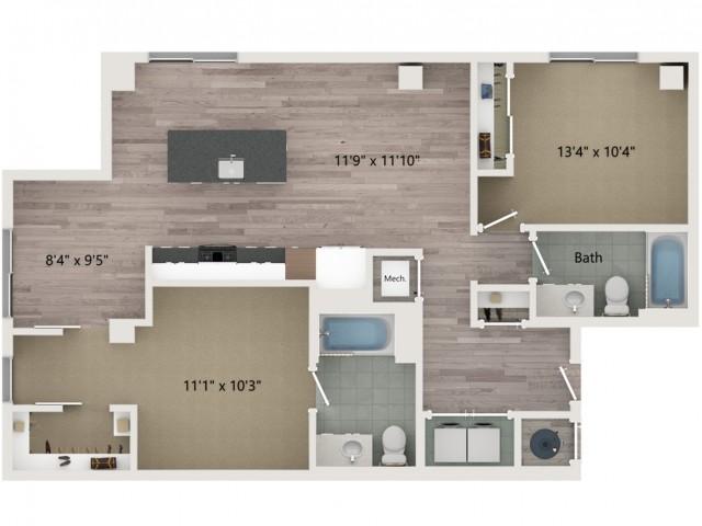 B1 Floor Plan | 2 Bedroom with 2 Bath | 1084 Square Feet | Sugarmont | Apartment Homes