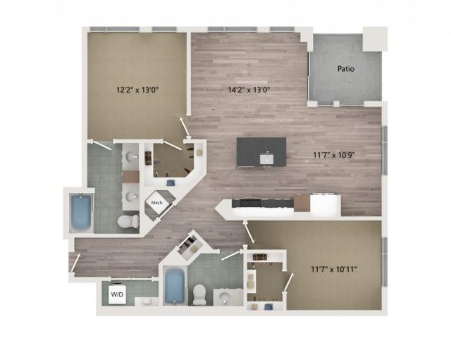 B6 Floor Plan | 2 Bedroom with 2 Bath | 1202 Square Feet | Sugarmont | Apartment Homes