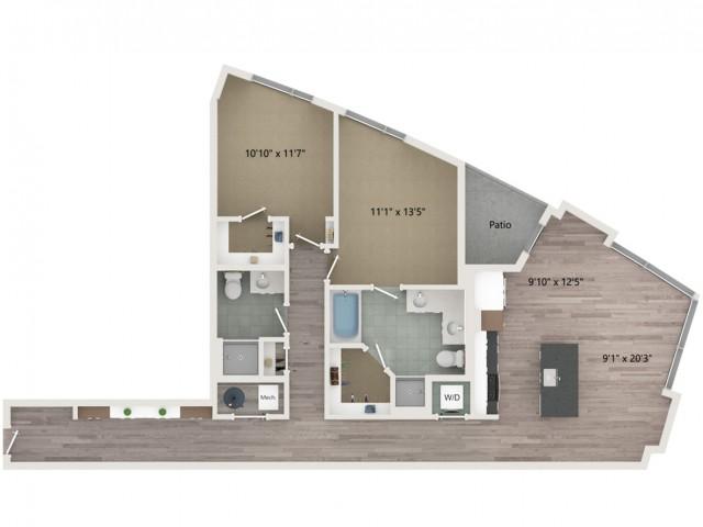 B9 Floor Plan | 2 Bedroom with 2 Bath | 1289 Square Feet | Sugarmont | Apartment Homes