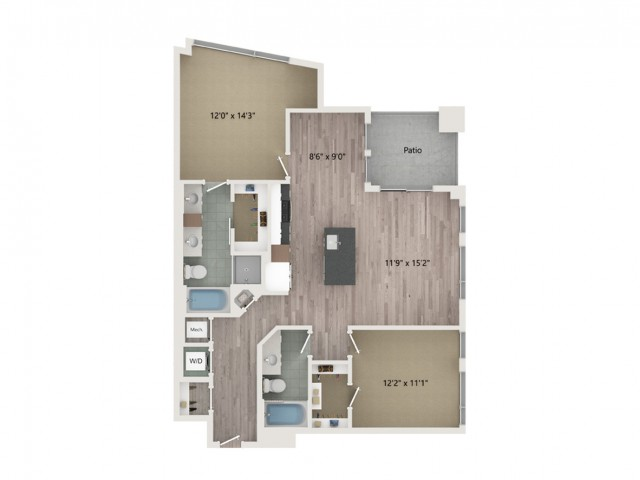 B5 Floor Plan | 2 Bedroom with 2 Bath | 1212 Square Feet | Sugarmont | Apartment Homes