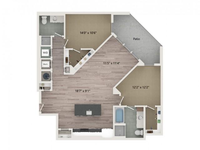 B7 Floor Plan | 2 Bedroom with 2 Bath | 1237 Square Feet | Sugarmont | Apartment Homes