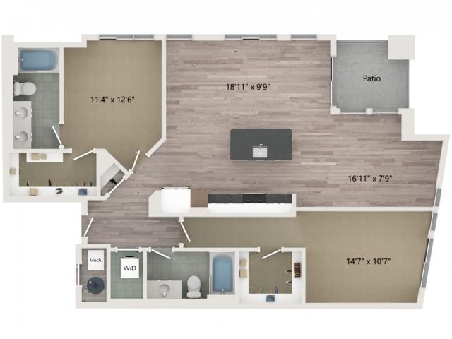 B11 Floor Plan | 2 Bedroom with 2 Bath | 1284 Square Feet | Sugarmont | Apartment Homes