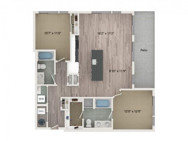 B3 Floor Plan | 2 Bedroom with 2 Bath | 1158 Square Feet | Sugarmont | Apartment Homes