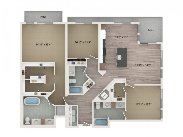 Penthouse C1 Floor Plan | 3 Bedroom with 3 Bath | 1720 Square Feet | Sugarmont | Apartment Homes