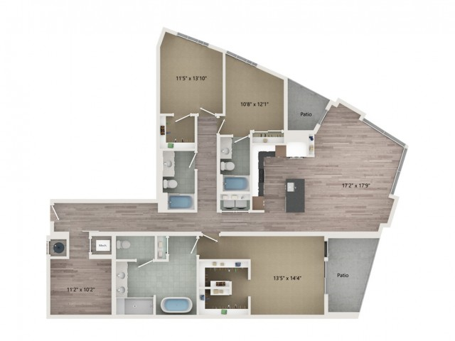 Penthouse C4 Floor Plan | 3 Bedroom with 3 Bath | 2053 Square Feet | Sugarmont | Apartment Homes
