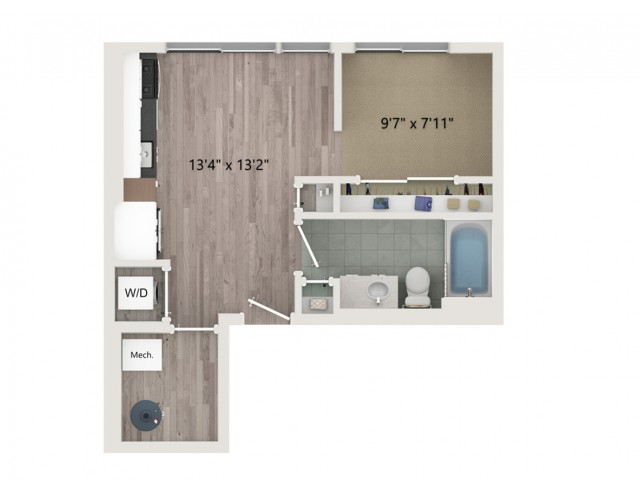Studio S2 ALT 1 Floor Plan | Studio with 1 Bath | 481 Square Feet | Sugarmont | Apartment Homes