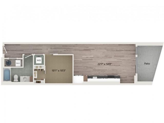 Urban UB2 ALT 3 Floor Plan | 1 Bedroom with 1 Bath | 754 Square Feet | Sugarmont | Apartment Homes