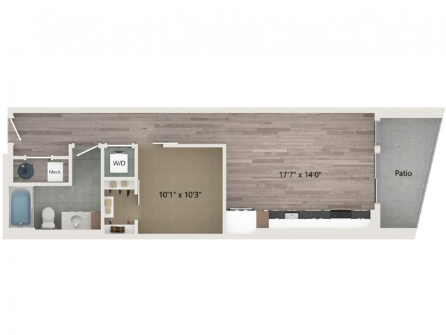Urban UB2 ALT 1 Floor Plan | 1 Bedroom with 1 Bath | 664 Square Feet | Sugarmont | Apartment Homes