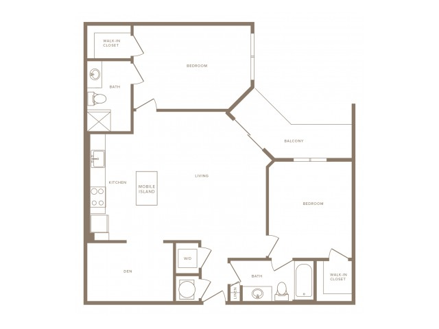 1163 square foot two bedroom two bath with den apartment floorplan image