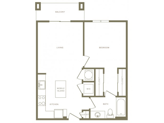 725 square foot one bedroom one bath apartment floorplan image
