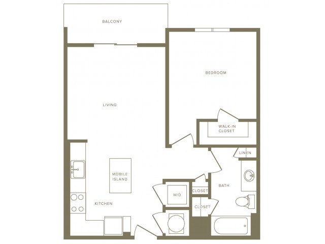 662 square foot one bedroom one bath apartment floorplan image