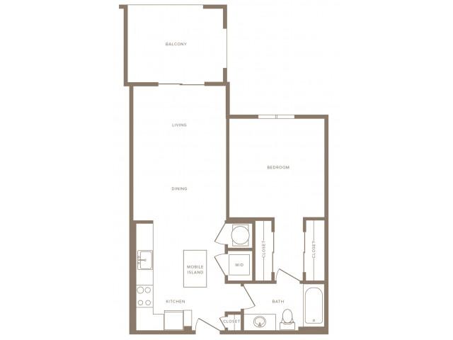 734 square foot one bedroom one bath apartment floorplan image