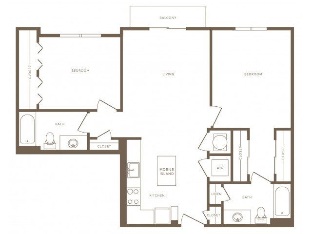 1007 square foot two bedroom two bath apartment floorplan image
