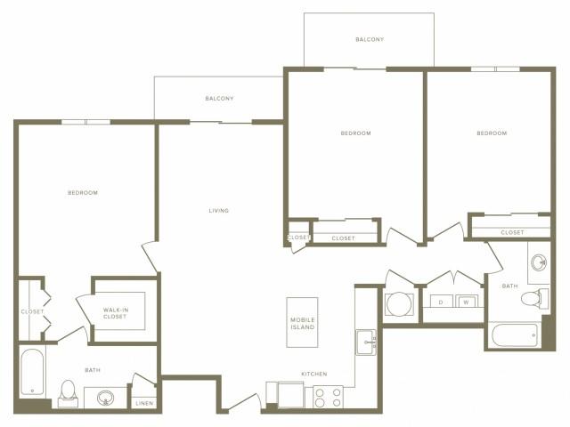 1385 square foot three bedroom two bath apartment floorplan image