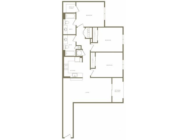 1307 square foot three bedroom two bath apartment floorplan image