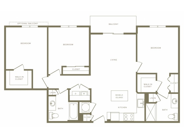 1215 square foot three bedroom two bath apartment floorplan image