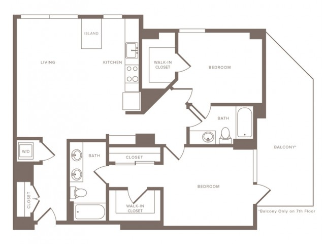 1217 square foot two bedroom two bath apartment floorplan image