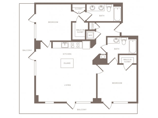 1153 square foot two bedroom two bath apartment floorplan image