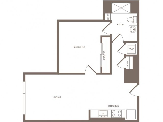 708 square foot one bedroom one bath apartment floorplan image