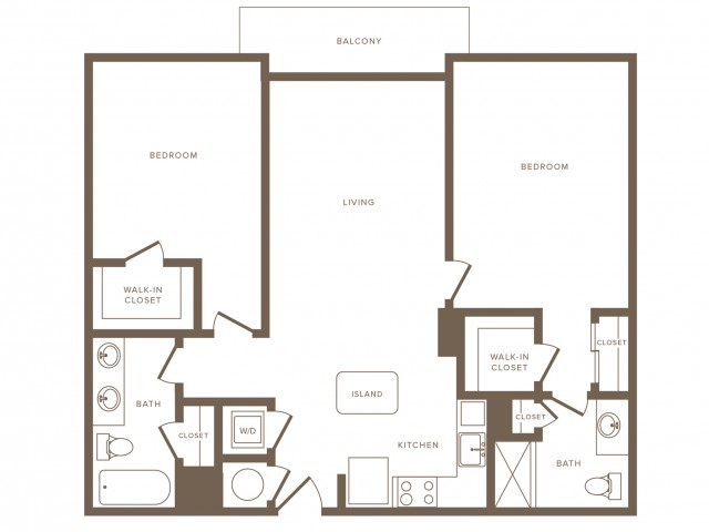 1161 square foot two bedroom two bath phase II apartment floorplan image