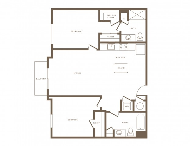 1059 square foot two bedroom two bath phase II apartment floorplan image