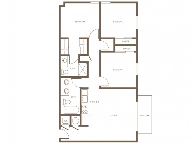 1176 square foot three bedroom two bath phase II apartment floorplan image