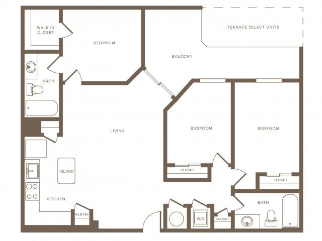 1250 square foot three bedroom two bath phase II apartment floorplan image