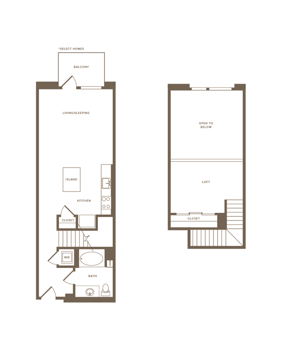 512-852 square foot studio one bath floor plan image