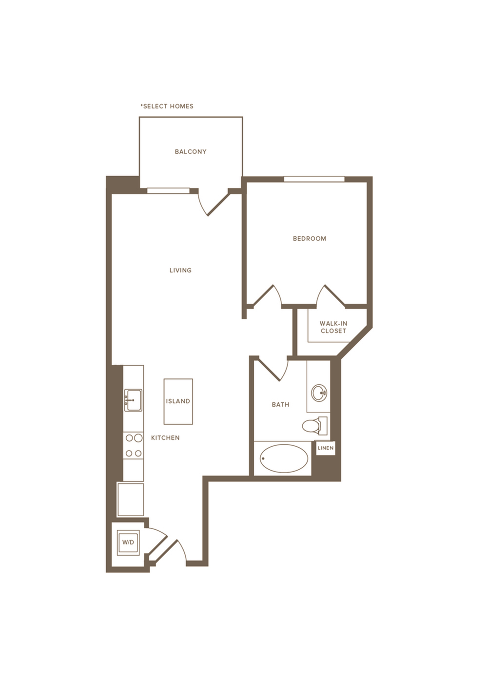 687-705 square foot one bedroom one bath floor plan image