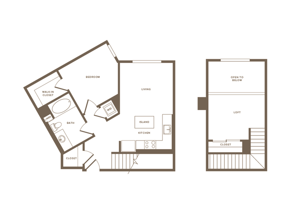 769-802 square foot one bedroom one bath floor plan image