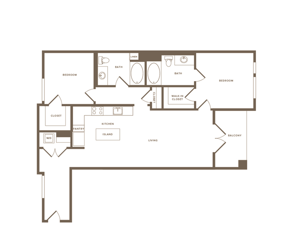 1126 square foot two bedroom two bath floor plan image