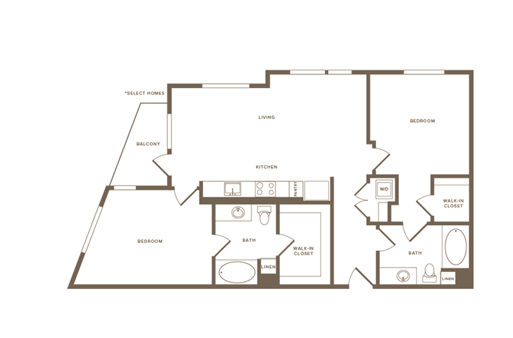 1073 square foot two bedroom two bath floor plan image