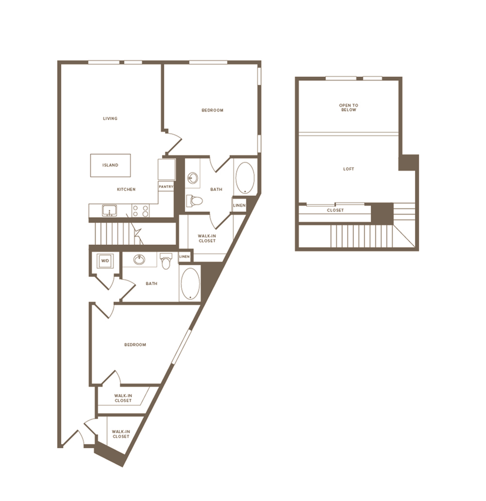 1405 square foot two bedroom two bath floor plan image
