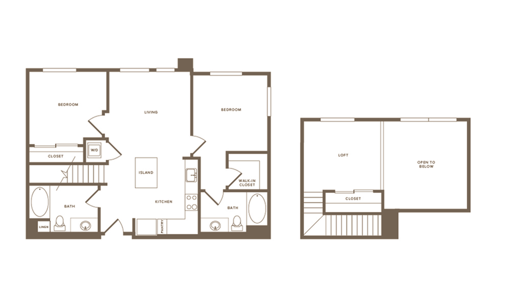 1045 square foot two bedroom two bath floor plan image