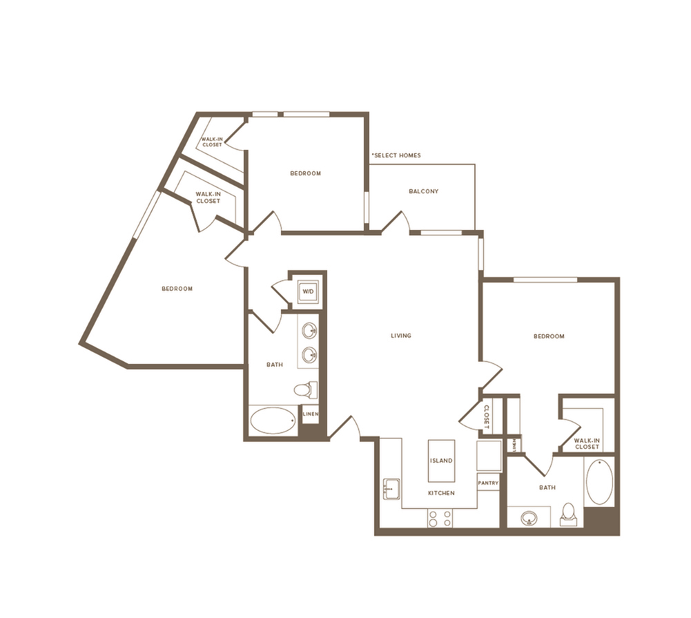 1354 square foot three bedroom two bath floor plan